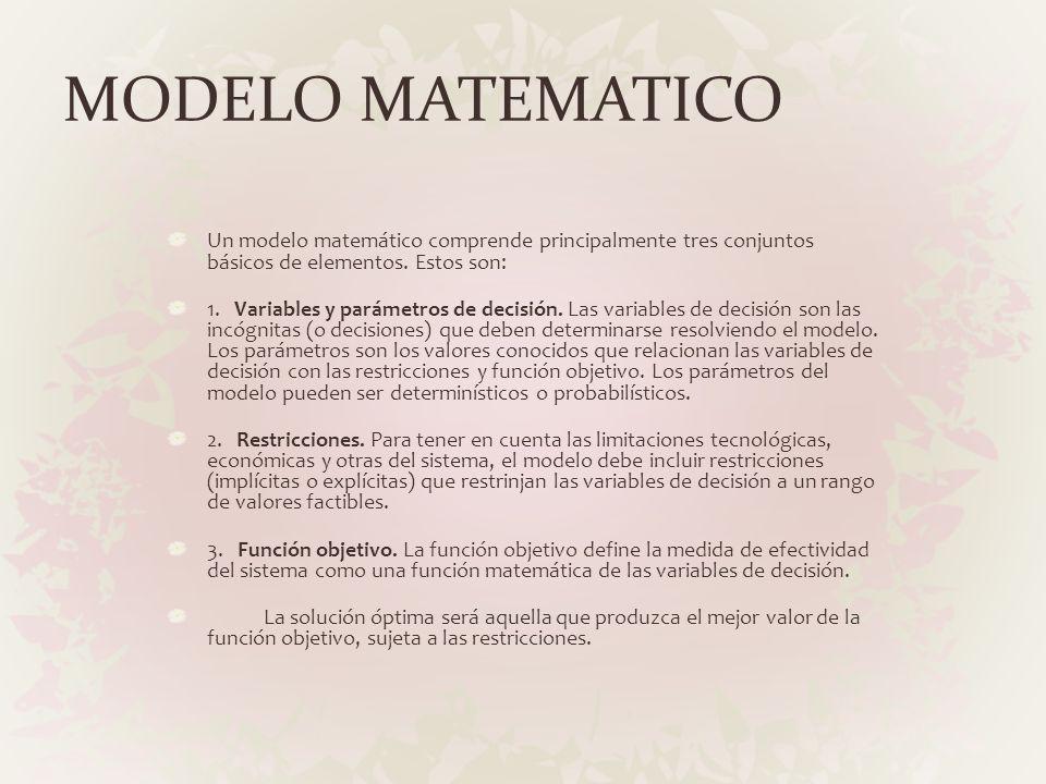 MODELO MATEMATICO Un modelo matemático comprende principalmente tres conjuntos básicos de elementos. Estos son: 1. Variables y parámetros de decisión.
