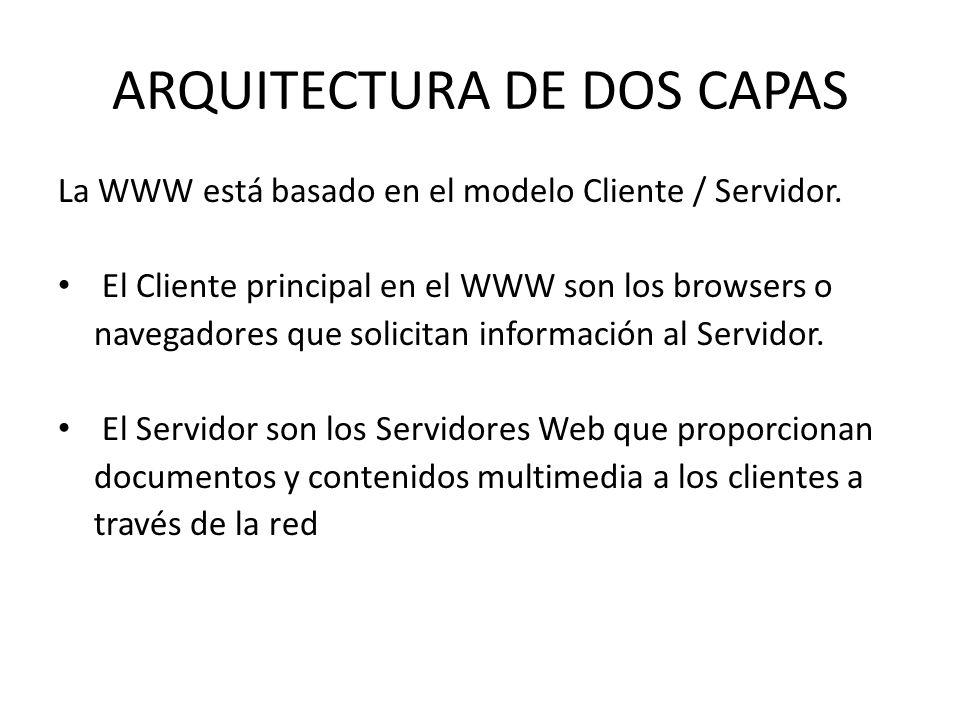 ARQUITECTURA DE DOS CAPAS La WWW está basado en el modelo Cliente / Servidor. El Cliente principal en el WWW son los browsers o navegadores que solici