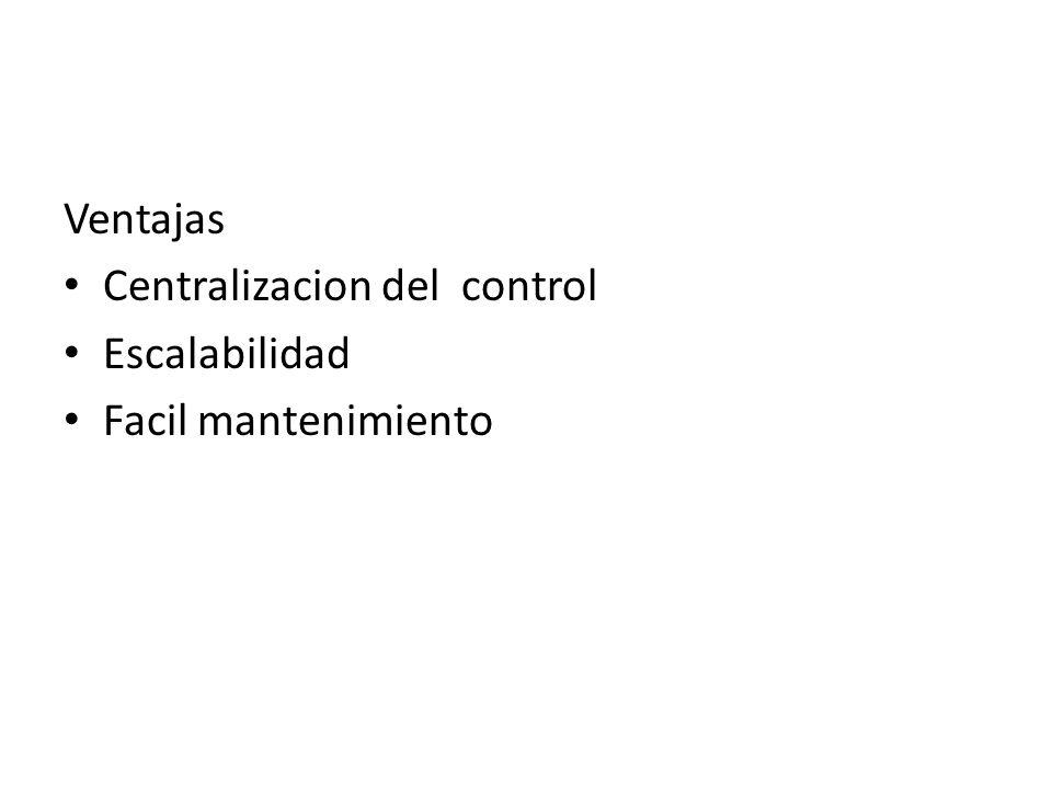 Ventajas Centralizacion del control Escalabilidad Facil mantenimiento
