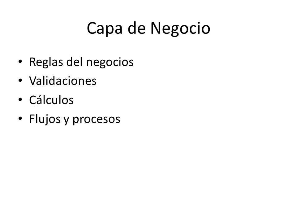 Capa de Negocio Reglas del negocios Validaciones Cálculos Flujos y procesos
