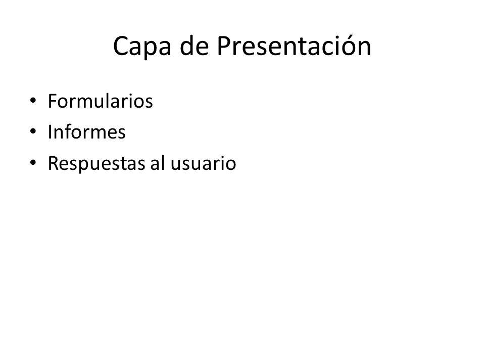 Capa de Presentación Formularios Informes Respuestas al usuario