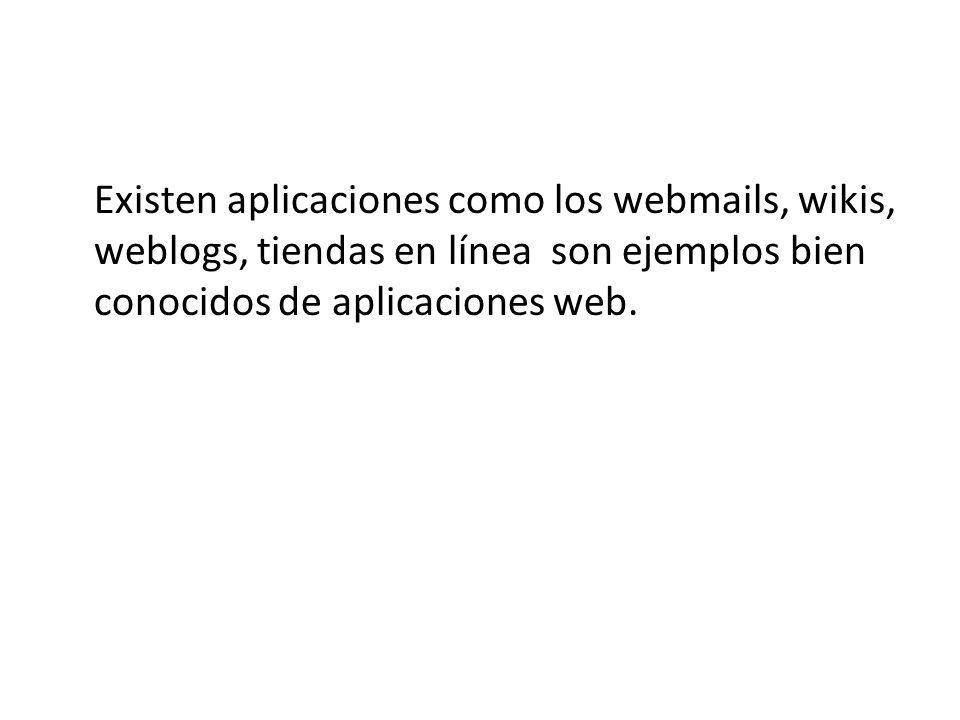 Existen aplicaciones como los webmails, wikis, weblogs, tiendas en línea son ejemplos bien conocidos de aplicaciones web.