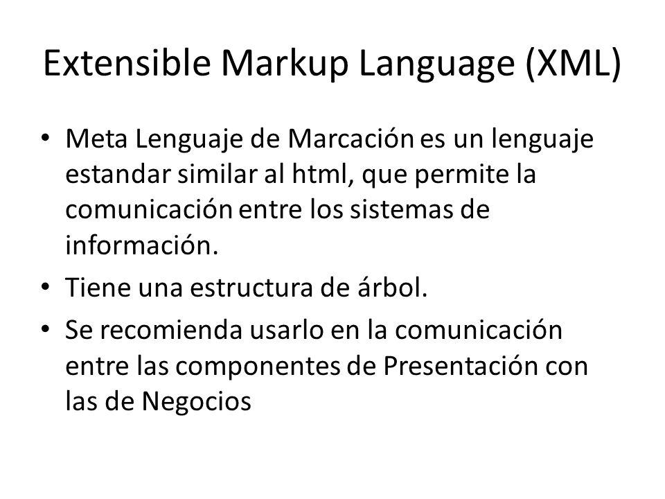 Extensible Markup Language (XML) Meta Lenguaje de Marcación es un lenguaje estandar similar al html, que permite la comunicación entre los sistemas de