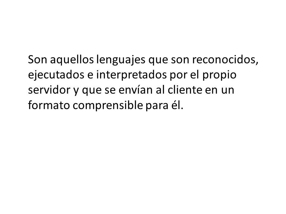 Son aquellos lenguajes que son reconocidos, ejecutados e interpretados por el propio servidor y que se envían al cliente en un formato comprensible pa