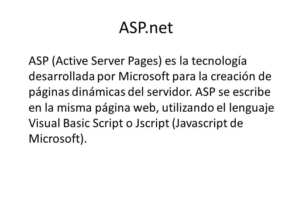 ASP.net ASP (Active Server Pages) es la tecnología desarrollada por Microsoft para la creación de páginas dinámicas del servidor. ASP se escribe en la