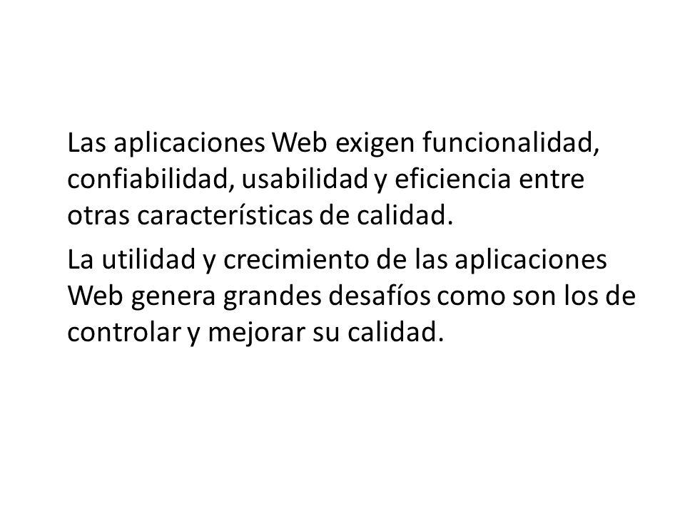 Las aplicaciones Web exigen funcionalidad, confiabilidad, usabilidad y eficiencia entre otras características de calidad. La utilidad y crecimiento de
