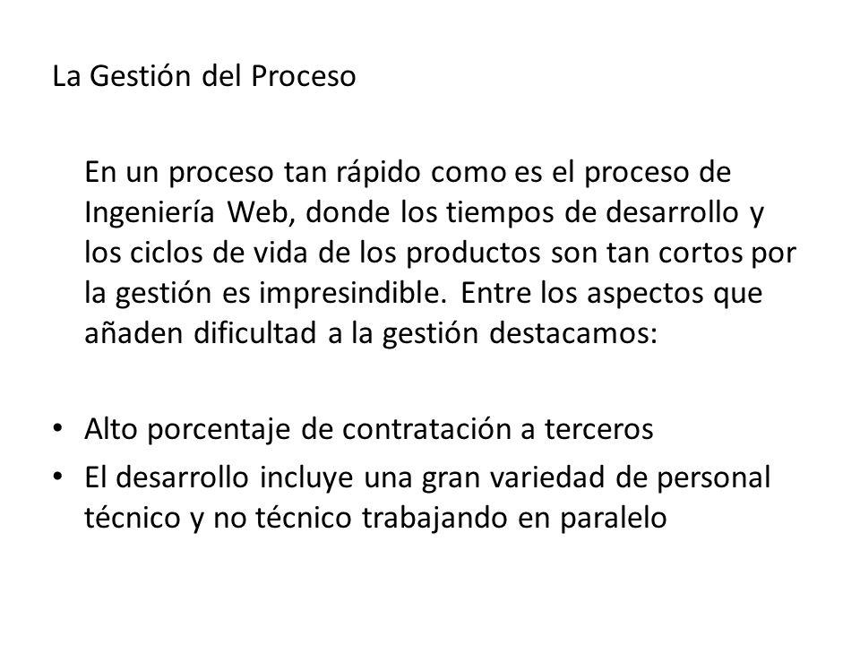 La Gestión del Proceso En un proceso tan rápido como es el proceso de Ingeniería Web, donde los tiempos de desarrollo y los ciclos de vida de los prod