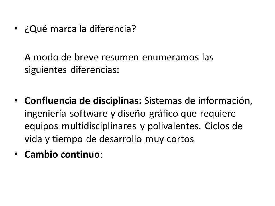 ¿Qué marca la diferencia? A modo de breve resumen enumeramos las siguientes diferencias: Confluencia de disciplinas: Sistemas de información, ingenier
