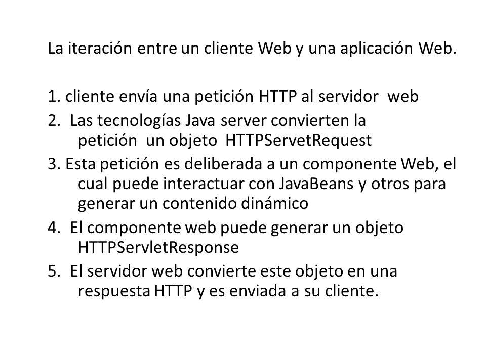 La iteración entre un cliente Web y una aplicación Web. 1. cliente envía una petición HTTP al servidor web 2. Las tecnologías Java server convierten l
