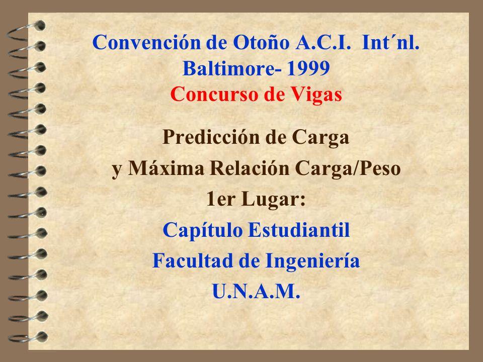 Convención de Otoño A.C.I. Int´nl. Baltimore- 1999 Concurso de Vigas Predicción de Carga y Máxima Relación Carga/Peso 1er Lugar: Capítulo Estudiantil