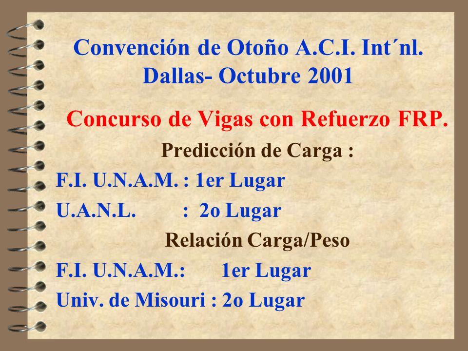 Convención de Otoño A.C.I. Int´nl. Dallas- Octubre 2001 Concurso de Vigas con Refuerzo FRP. Predicción de Carga : F.I. U.N.A.M. : 1er Lugar U.A.N.L. :