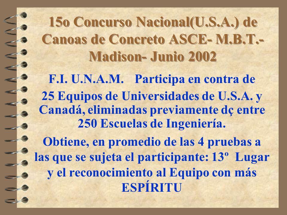 15o Concurso Nacional(U.S.A.) de Canoas de Concreto ASCE- M.B.T.- Madison- Junio 2002 F.I. U.N.A.M. Participa en contra de 25 Equipos de Universidades