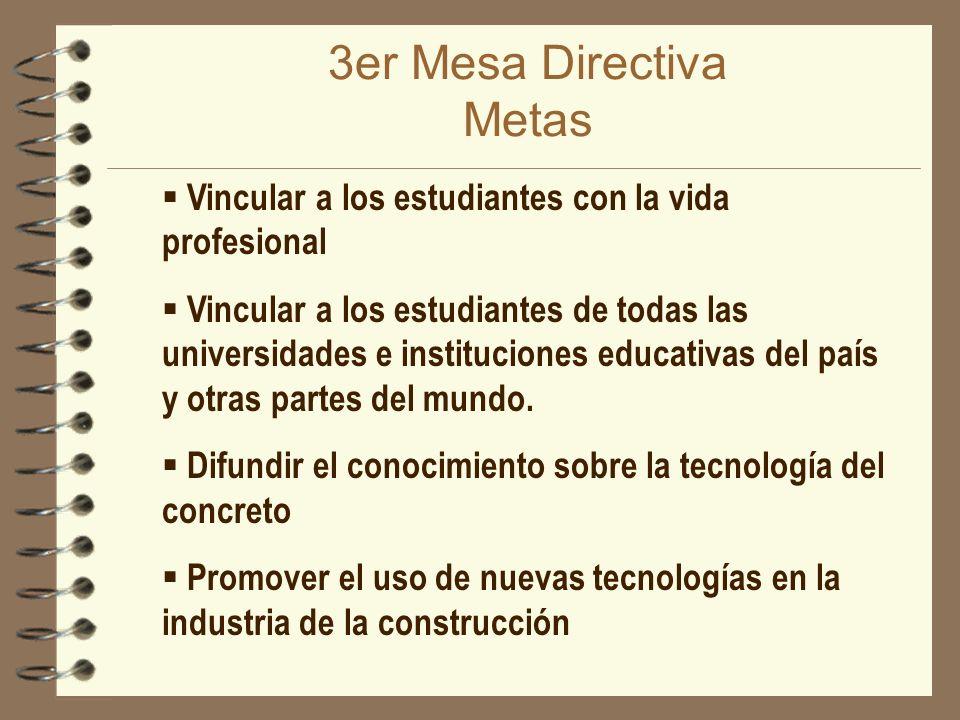 3er Mesa Directiva Metas Vincular a los estudiantes con la vida profesional Vincular a los estudiantes de todas las universidades e instituciones educ
