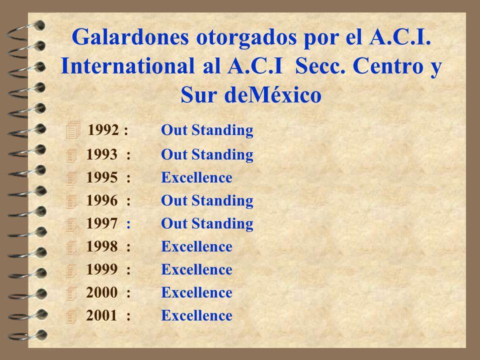 Galardones otorgados por el A.C.I. International al A.C.I Secc. Centro y Sur deMéxico 4 1992 :Out Standing 4 1993 :Out Standing 4 1995 :Excellence 4 1