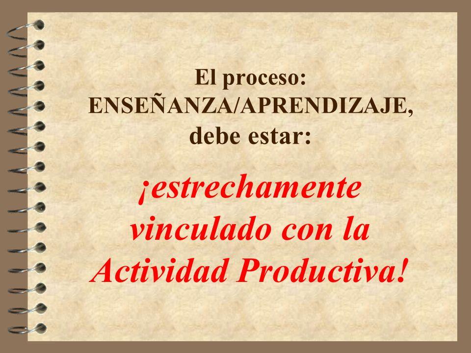 El proceso: ENSEÑANZA/APRENDIZAJE, debe estar: ¡estrechamente vinculado con la Actividad Productiva!