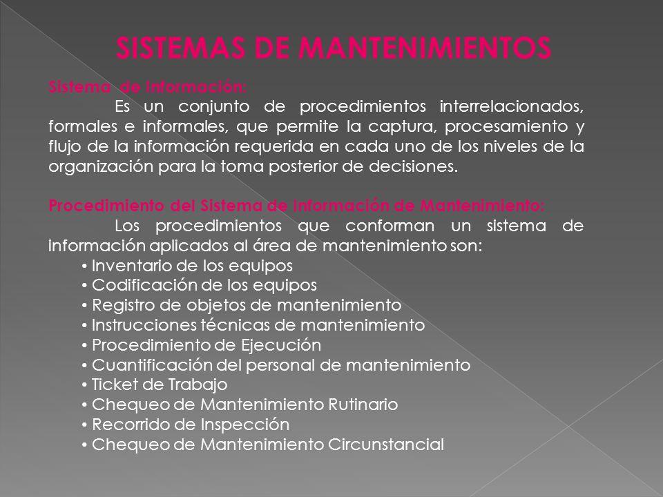 SISTEMAS DE MANTENIMIENTOS Sistema de Información: Es un conjunto de procedimientos interrelacionados, formales e informales, que permite la captura,
