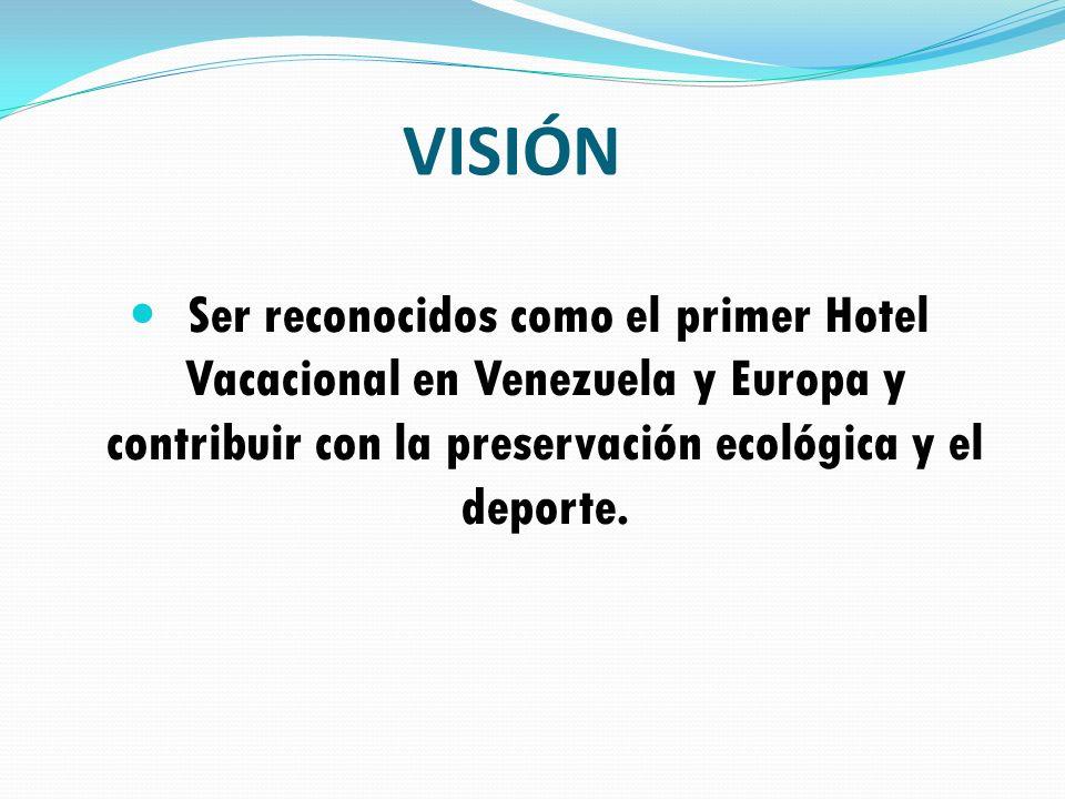 Ser reconocidos como el primer Hotel Vacacional en Venezuela y Europa y contribuir con la preservación ecológica y el deporte. VISIÓN