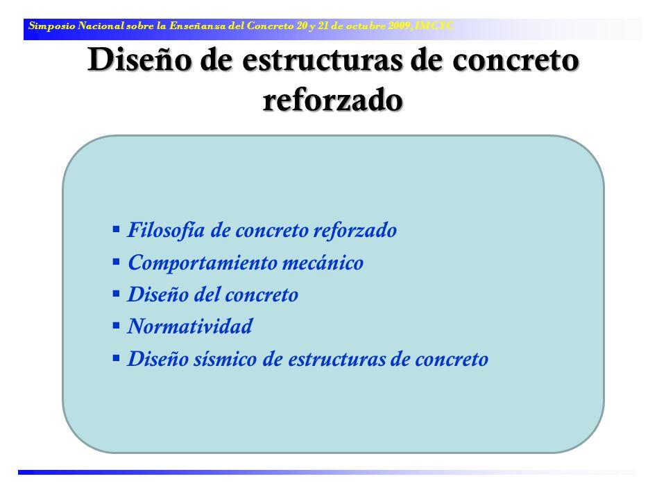 Diseño de estructuras de concreto reforzado Simposio Nacional sobre la Enseñanza del Concreto 20 y 21 de octubre 2009, IMCYC Filosofía de concreto ref