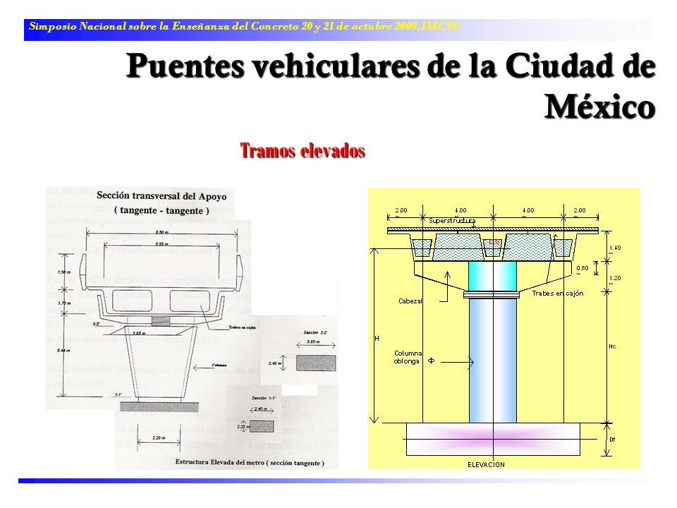 Simposio Nacional sobre la Enseñanza del Concreto 20 y 21 de octubre 2009, IMCYC Puentes vehiculares de la Ciudad de México Tramos elevados