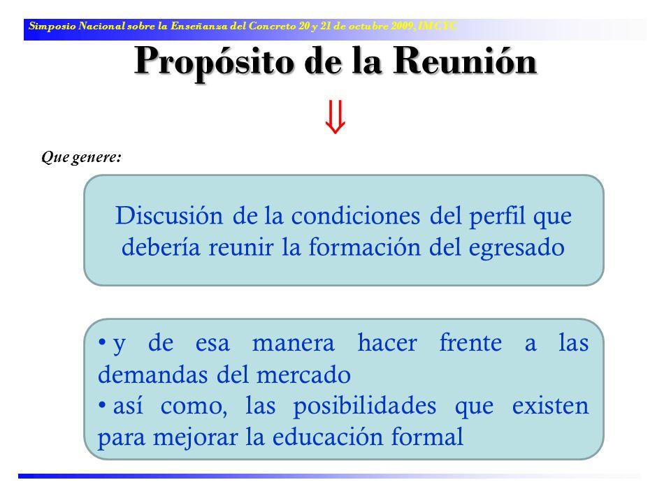 Propósito de la Reunión Que genere: Discusión de la condiciones del perfil que debería reunir la formación del egresado Simposio Nacional sobre la Ens