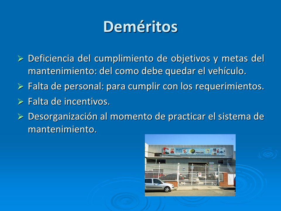 Deméritos Deficiencia del cumplimiento de objetivos y metas del mantenimiento: del como debe quedar el vehículo. Deficiencia del cumplimiento de objet