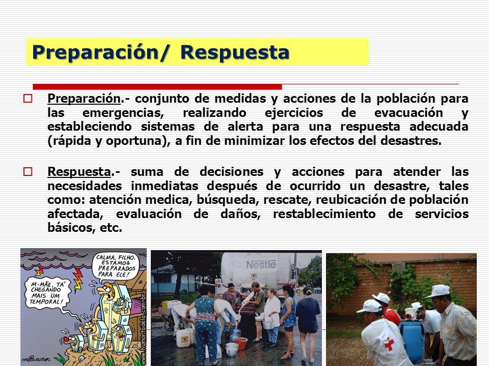 12 Preparación/ Respuesta Preparación.- conjunto de medidas y acciones de la población para las emergencias, realizando ejercicios de evacuación y est