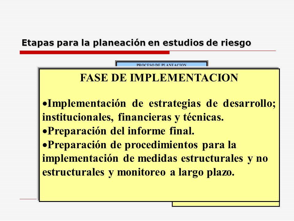 Etapas para la planeación en estudios de riesgo MISIÓN PRELIMINAR Identificación de áreas destinadas al desarrollo. Recopilación de información básica