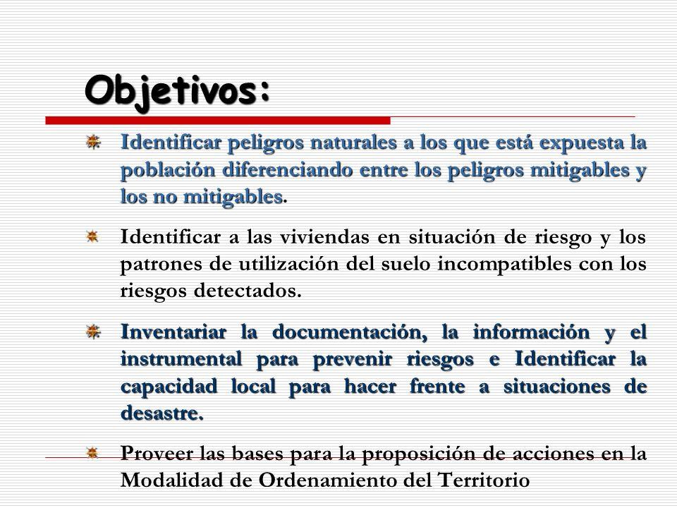Objetivos: Identificar peligros naturales a los que está expuesta la población diferenciando entre los peligros mitigables y los no mitigables Identif