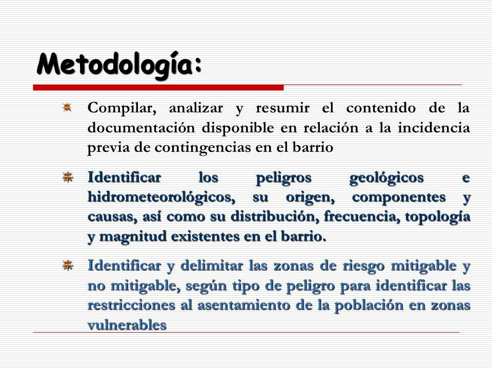 Metodología: Compilar, analizar y resumir el contenido de la documentación disponible en relación a la incidencia previa de contingencias en el barrio