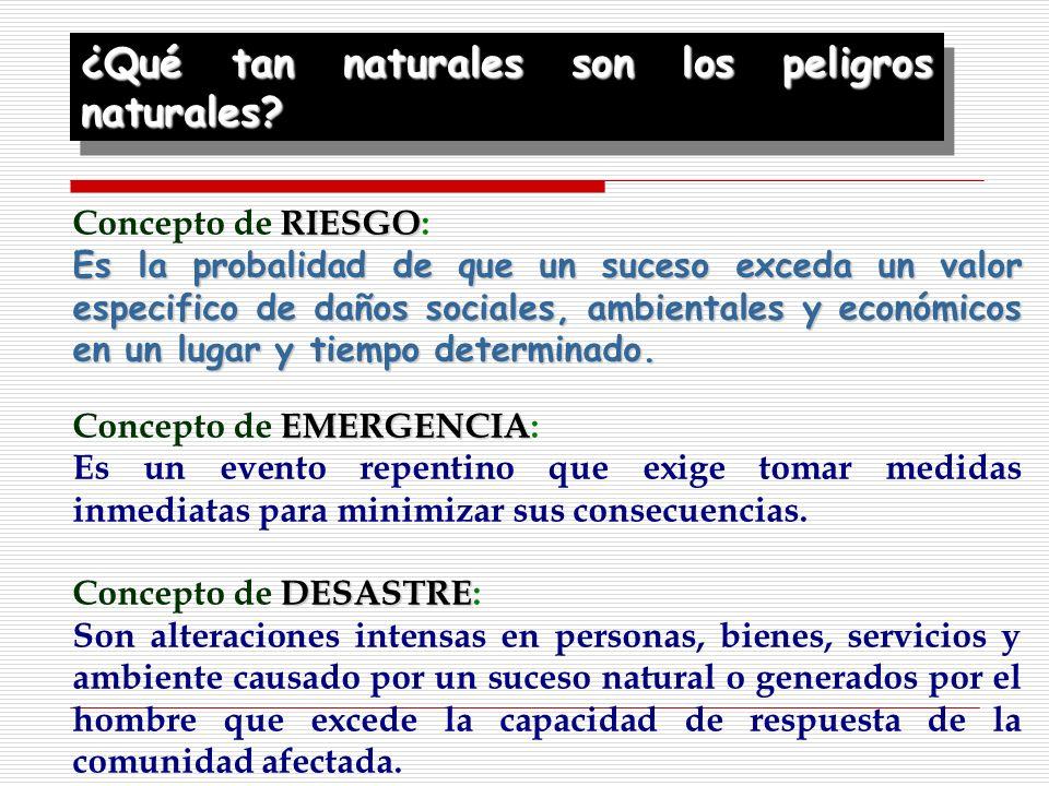 RIESGO Concepto de RIESGO: Es la probalidad de que un suceso exceda un valor especifico de daños sociales, ambientales y económicos en un lugar y tiem
