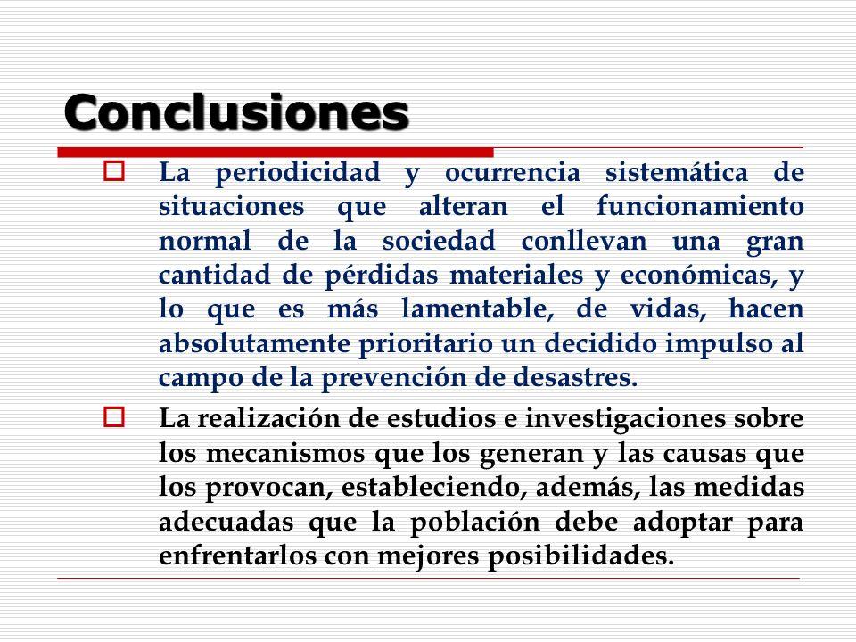 Conclusiones La periodicidad y ocurrencia sistemática de situaciones que alteran el funcionamiento normal de la sociedad conllevan una gran cantidad d