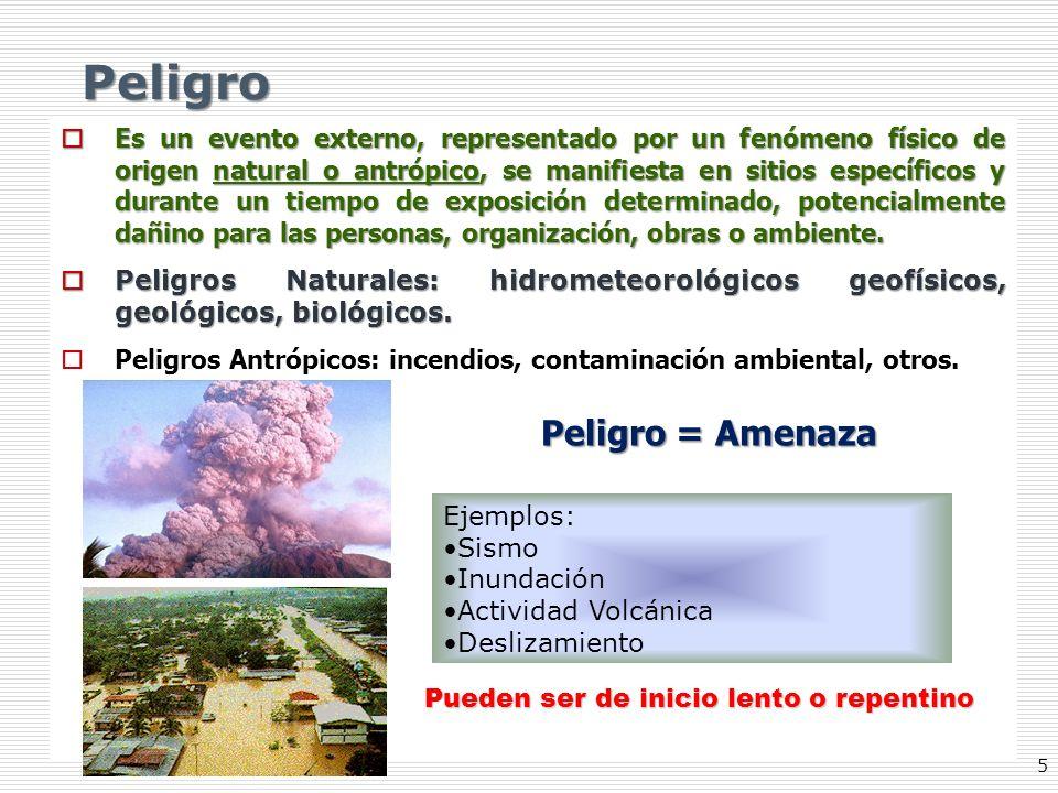 5 Peligro Es un evento externo, representado por un fenómeno físico de origen natural o antrópico, se manifiesta en sitios específicos y durante un ti