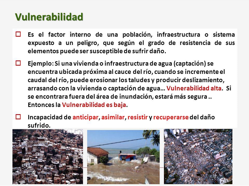 6 Vulnerabilidad Es el factor interno de una población, infraestructura o sistema expuesto a un peligro, que según el grado de resistencia de sus elem