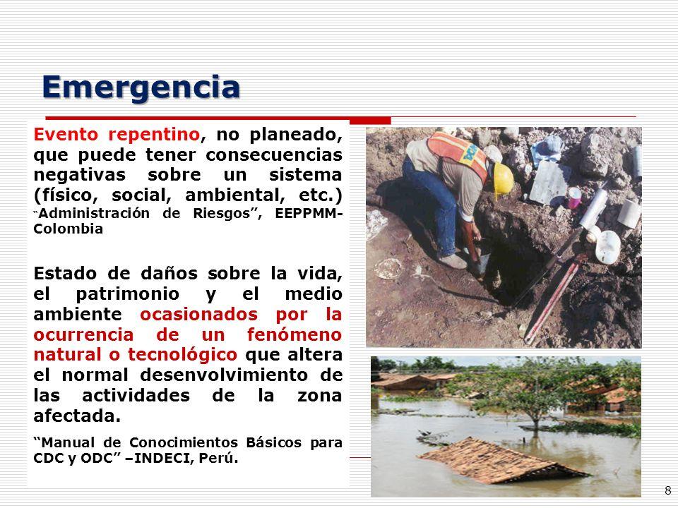 8 Emergencia Evento repentino, no planeado, que puede tener consecuencias negativas sobre un sistema (físico, social, ambiental, etc.) Administración