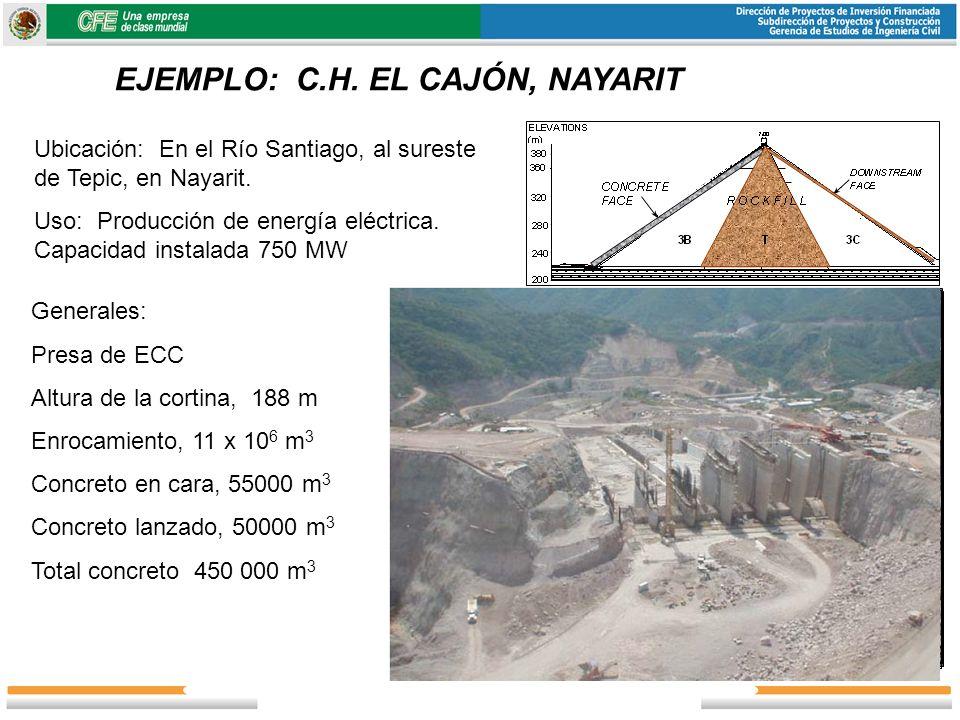 EJEMPLO: C.H. EL CAJÓN, NAYARIT Ubicación: En el Río Santiago, al sureste de Tepic, en Nayarit. Uso: Producción de energía eléctrica. Capacidad instal