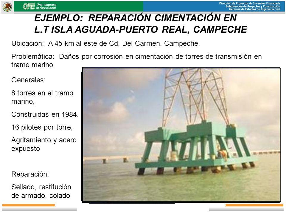 EJEMPLO: REPARACIÓN CIMENTACIÓN EN L.T ISLA AGUADA-PUERTO REAL, CAMPECHE Ubicación: A 45 km al este de Cd. Del Carmen, Campeche. Problemática: Daños p