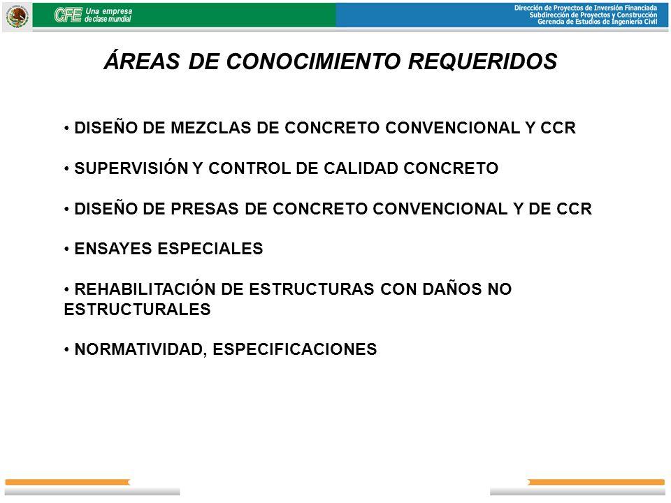 ÁREAS DE CONOCIMIENTO REQUERIDOS DISEÑO DE MEZCLAS DE CONCRETO CONVENCIONAL Y CCR SUPERVISIÓN Y CONTROL DE CALIDAD CONCRETO DISEÑO DE PRESAS DE CONCRE