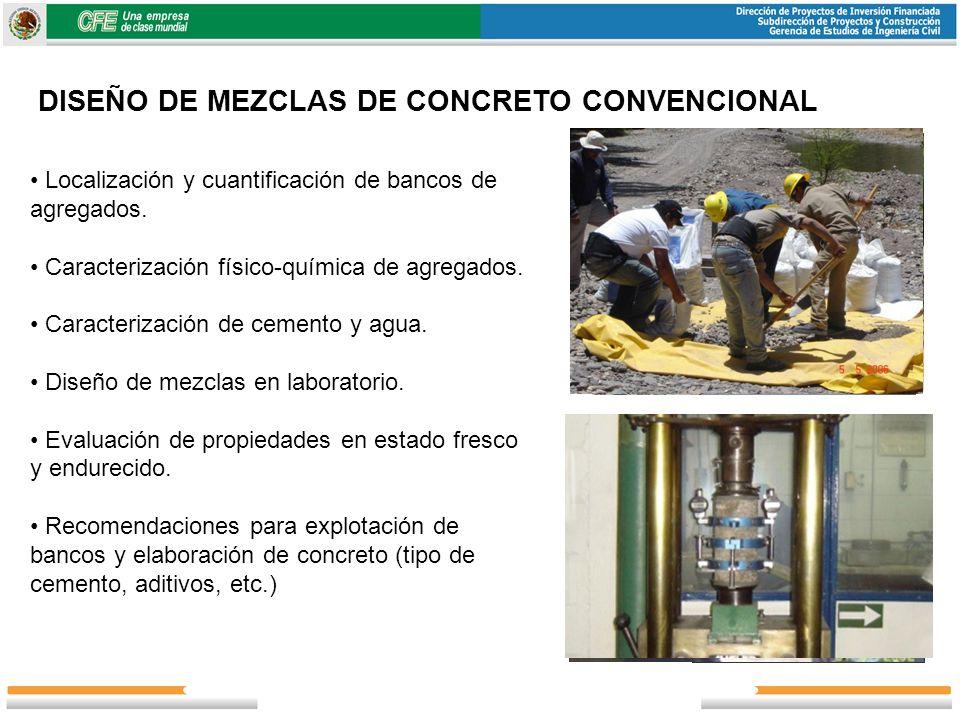 DISEÑO DE MEZCLAS DE CONCRETO CONVENCIONAL Localización y cuantificación de bancos de agregados. Caracterización físico-química de agregados. Caracter