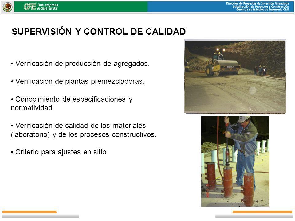 SUPERVISIÓN Y CONTROL DE CALIDAD Verificación de producción de agregados. Verificación de plantas premezcladoras. Conocimiento de especificaciones y n