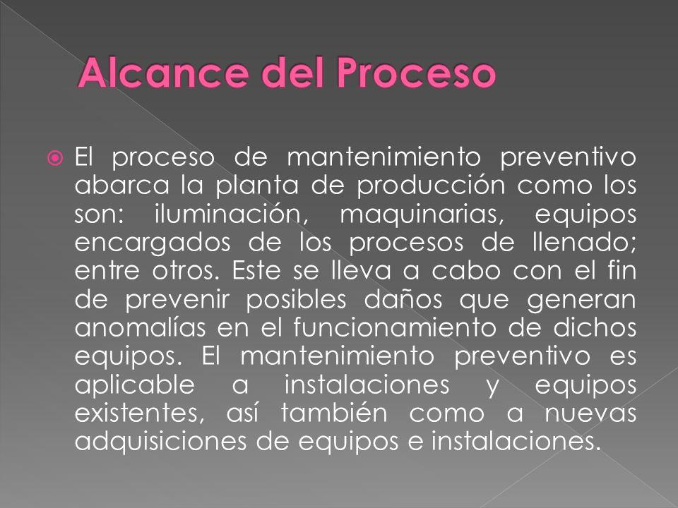 El proceso de mantenimiento preventivo abarca la planta de producción como los son: iluminación, maquinarias, equipos encargados de los procesos de ll