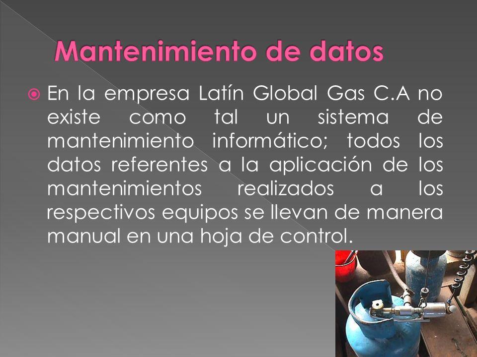 En la empresa Latín Global Gas C.A no existe como tal un sistema de mantenimiento informático; todos los datos referentes a la aplicación de los mantenimientos realizados a los respectivos equipos se llevan de manera manual en una hoja de control.