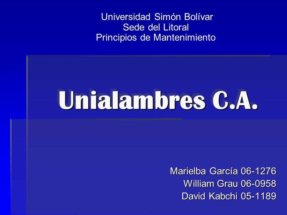 Unialambres C.A. Marielba García 06-1276 William Grau 06-0958 David Kabchi 05-1189 Universidad Simón Bolívar Sede del Litoral Principios de Mantenimie