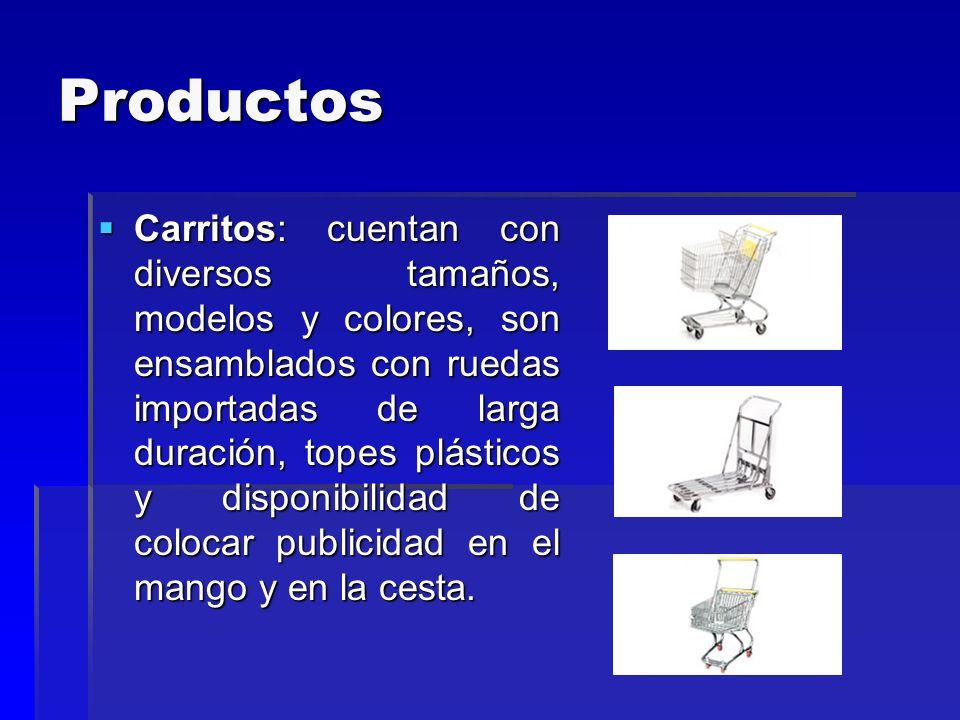 Productos Carritos: cuentan con diversos tamaños, modelos y colores, son ensamblados con ruedas importadas de larga duración, topes plásticos y dispon