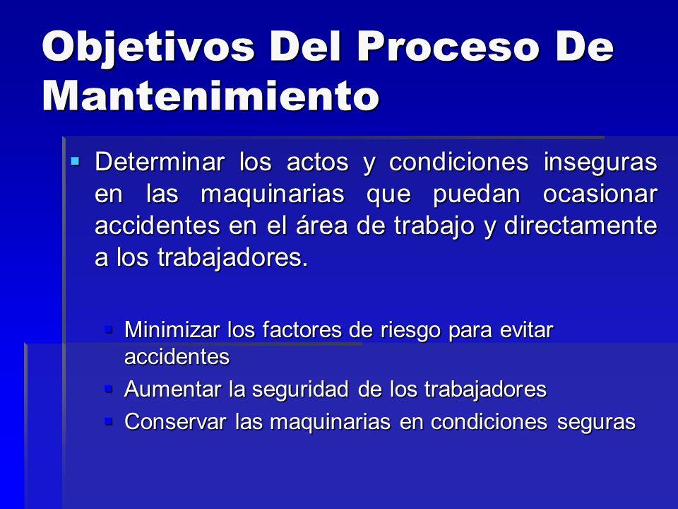 Objetivos Del Proceso De Mantenimiento Determinar los actos y condiciones inseguras en las maquinarias que puedan ocasionar accidentes en el área de t