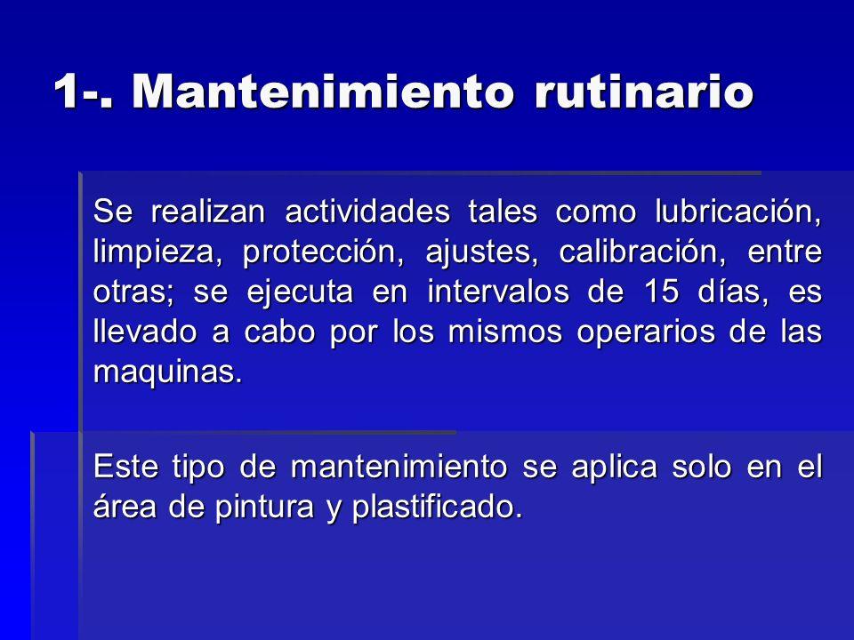 1-. Mantenimiento rutinario Se realizan actividades tales como lubricación, limpieza, protección, ajustes, calibración, entre otras; se ejecuta en int