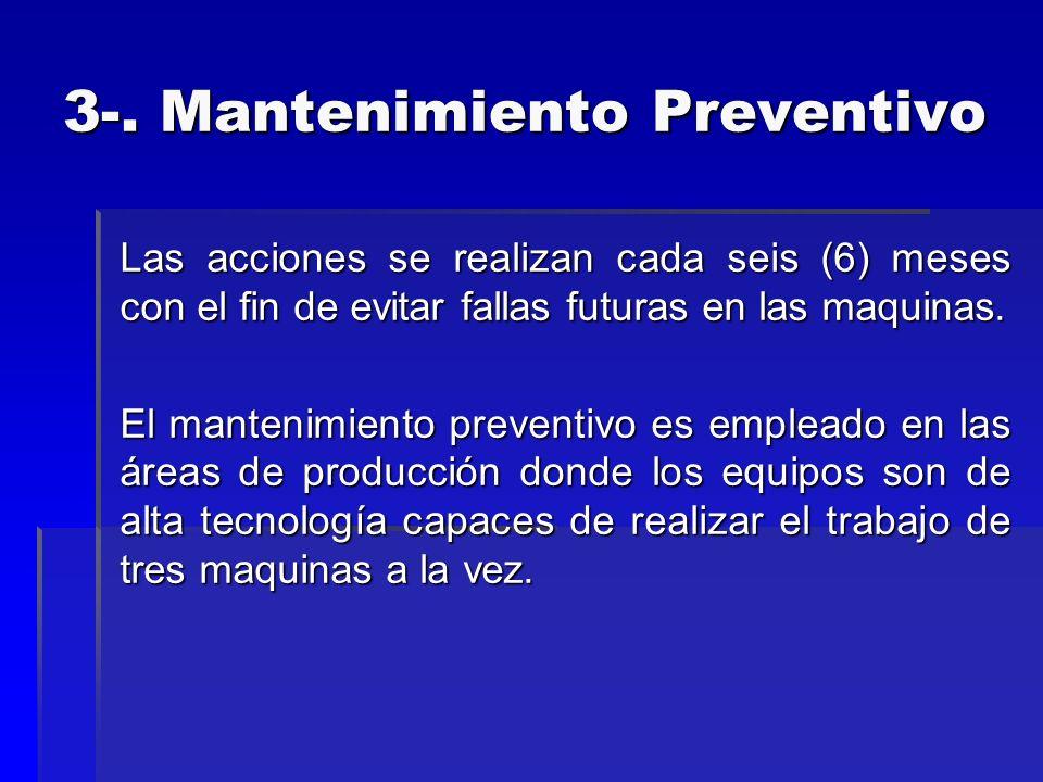 3-. Mantenimiento Preventivo Las acciones se realizan cada seis (6) meses con el fin de evitar fallas futuras en las maquinas. El mantenimiento preven