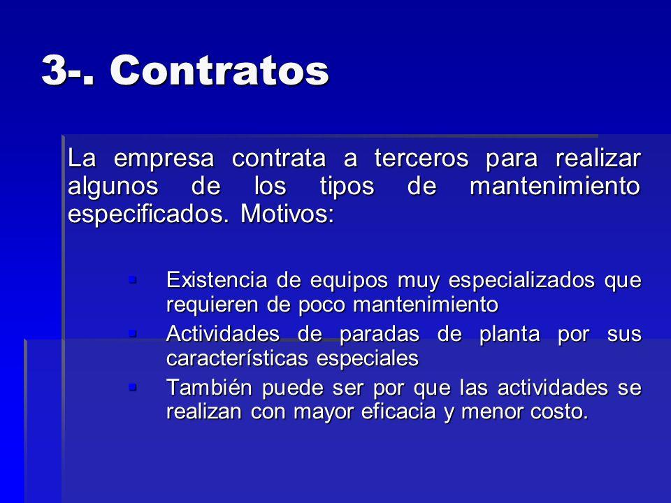 3-. Contratos La empresa contrata a terceros para realizar algunos de los tipos de mantenimiento especificados. Motivos: Existencia de equipos muy esp