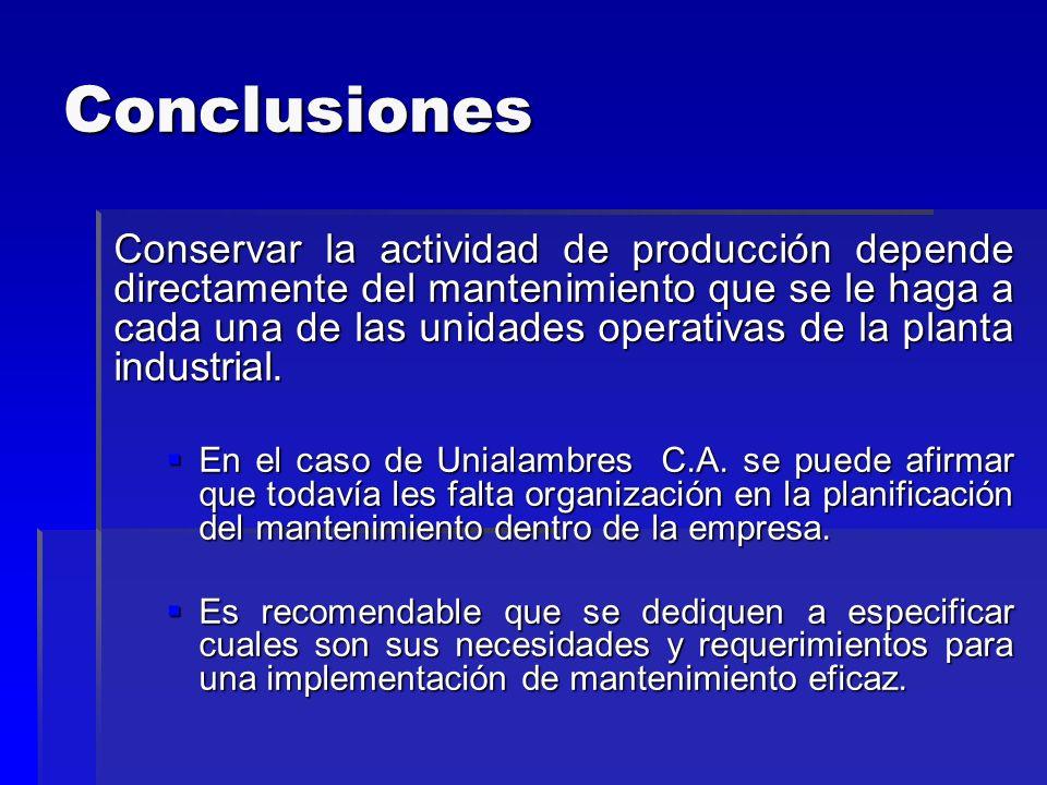Conclusiones Conservar la actividad de producción depende directamente del mantenimiento que se le haga a cada una de las unidades operativas de la pl