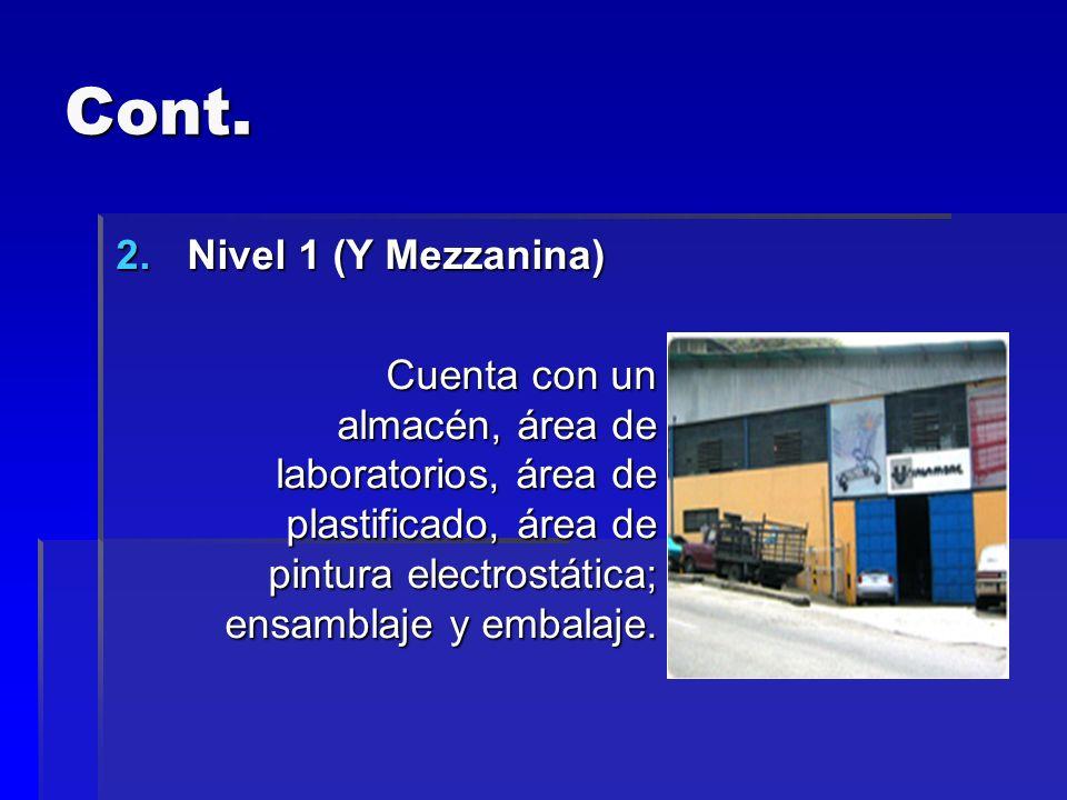 Cont. 2.Nivel 1 (Y Mezzanina) Cuenta con un almacén, área de laboratorios, área de plastificado, área de pintura electrostática; ensamblaje y embalaje