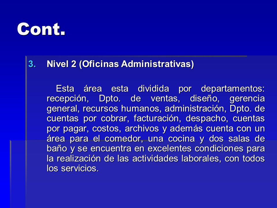 Cont. 3.Nivel 2 (Oficinas Administrativas) Esta área esta dividida por departamentos: recepción, Dpto. de ventas, diseño, gerencia general, recursos h